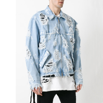 45b8b46aea Custom male wear oversized boyfriend denim coat men distressed jean jackets  guangzhou factory wholesale