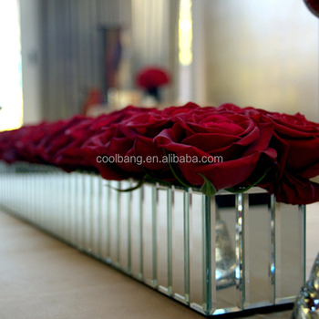 Wholesale Wedding Centerpieces Long Rectangular Mirror Glass Vase
