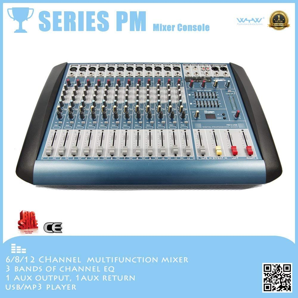 Professional audio mixers PM series, 6/8/12/16 channels mono input powered mixer