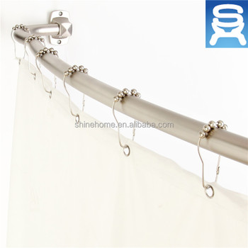 Wall Mounted Iron Chrome Plated Bathroom Fitting Shower Curtain Tension Rod Accessory Extendable