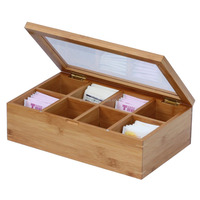 Wholesale Natural Bamboo Tea Box with Transparent Lid Eco-friendly Tea Bag Organizer Chest-8 Compartments