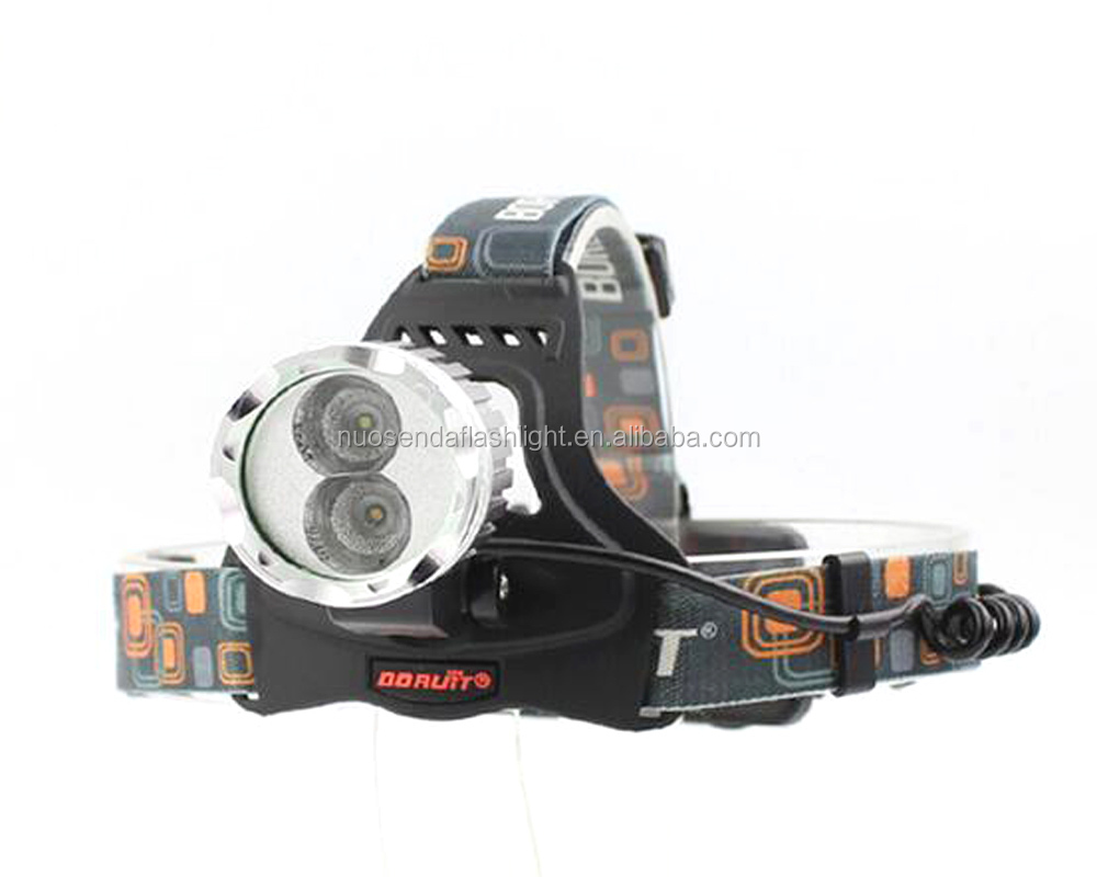 BORUIT RJ-1188B 1xCREE XM-L 6500K Cool White+1xCREE XPE 3000K Warm White 1200 Lumens 3-Mode USB LED Headlamp Bike Light Flashli