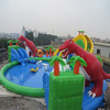 HI Commercial outdoor adventure big dinosaur inflatable water park for kids and adults