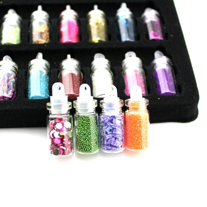 Explosion models powder sequin nail art decoration in small glass bottle with 48 colors