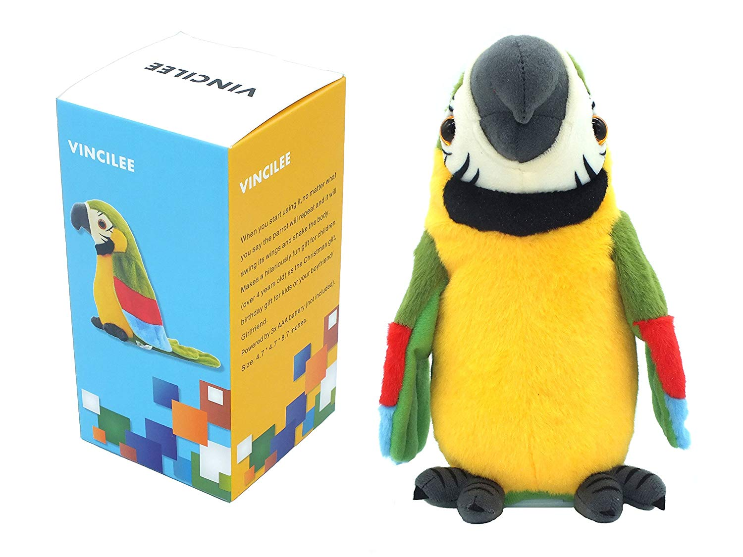 Get Quotations · Vincilee Talking Parrot Repeat What You Say Mimicry Pet Toy  Plush Buddy Parrot for Children Gift 0b7698ad37