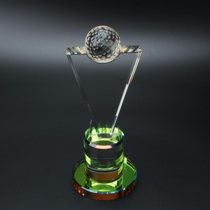 AB colored Trophy award Crystal golf ball with logo engraving for souvenir gifts