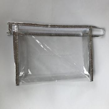 Custom Clear Pvc Silver Fabric Edges Plastic Zipper Bag