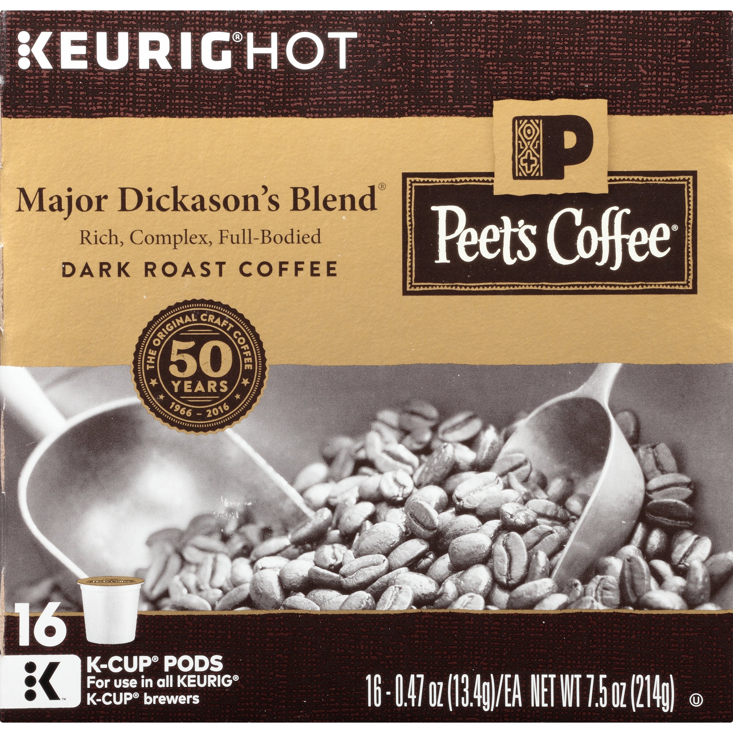Peet's Coffee, Major Dickason's Blend, Dark Roast, 16 Count Single-Cup Coffee Pods, Rich, Smooth & Complex Blend w/ Full Bodied & Layered Flavor; for All Keurig K-Cup Brewers (Packaging May Vary)