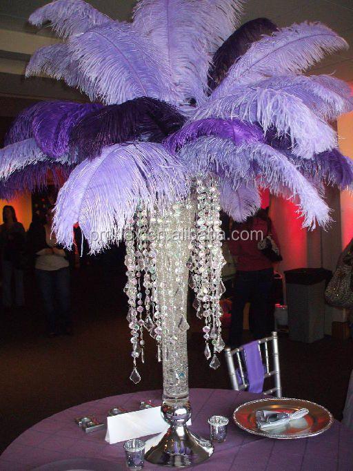 Uzun boylu düğün şamdan centerpiece devekuşu tüyü