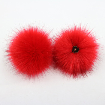 2020 12cm Factory wholesale fake faux fox fur pompom ball with snap
