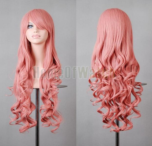 32 дюймов длинная розовый парики косплей женская вьющийся парики 80 см ( NWG0CP60817-PI2 )