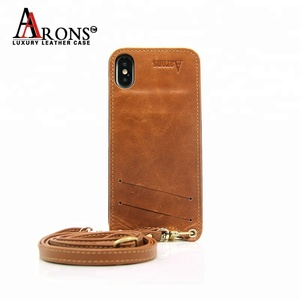 Guangzhou Mobile Accessories Shockproof Crossbody Real Leather Phone Back Cover Case with Lanyard Neck Strap for iPhone X XS Max