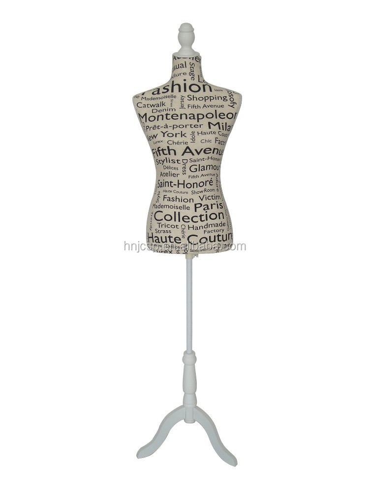 Decorative linen fabric dress mannequins with wooden stands