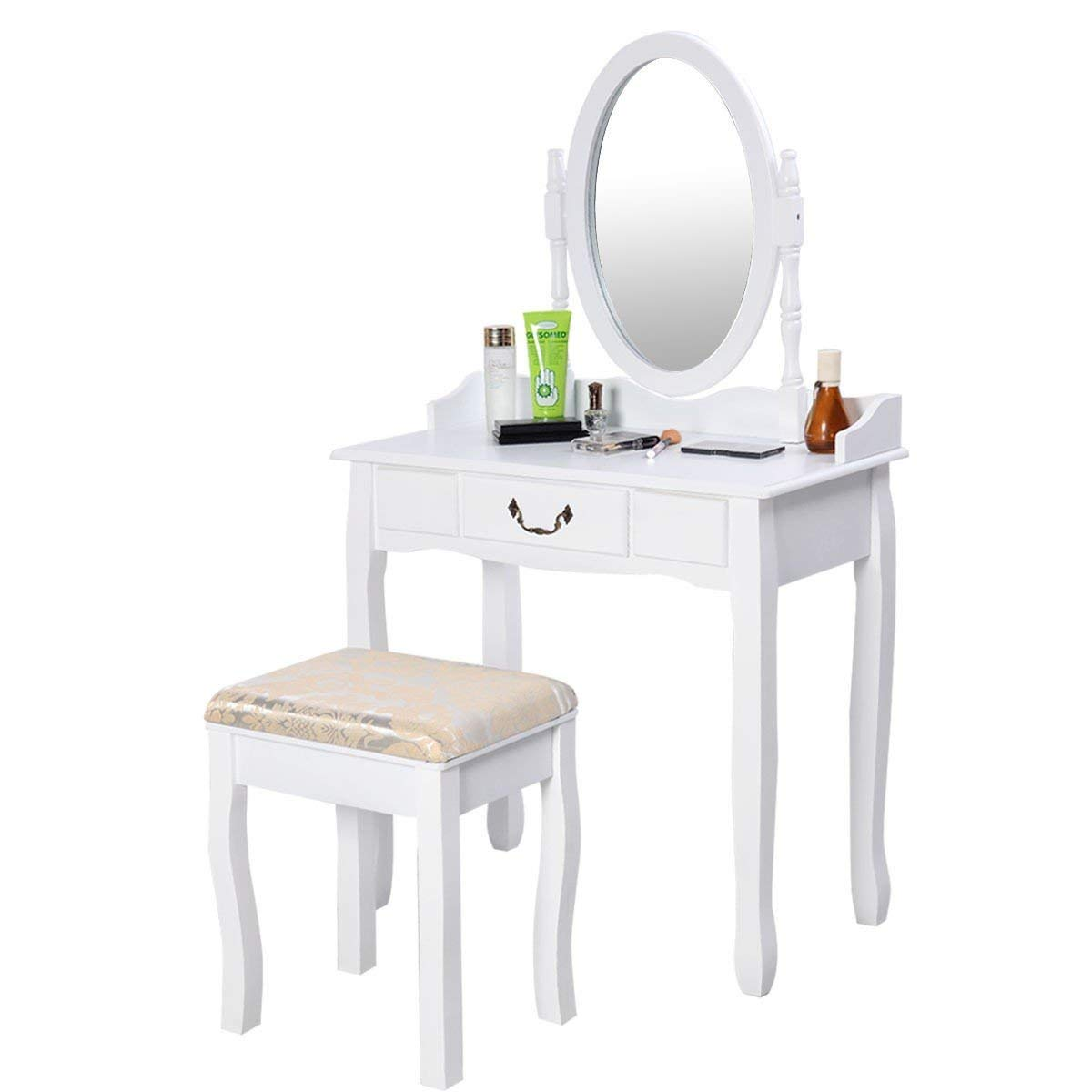 MyEasyShopping Vanity Antique Table Makeup Mirror Make Up Wood Dressing  Dresser Desk French Stool Style Walnut