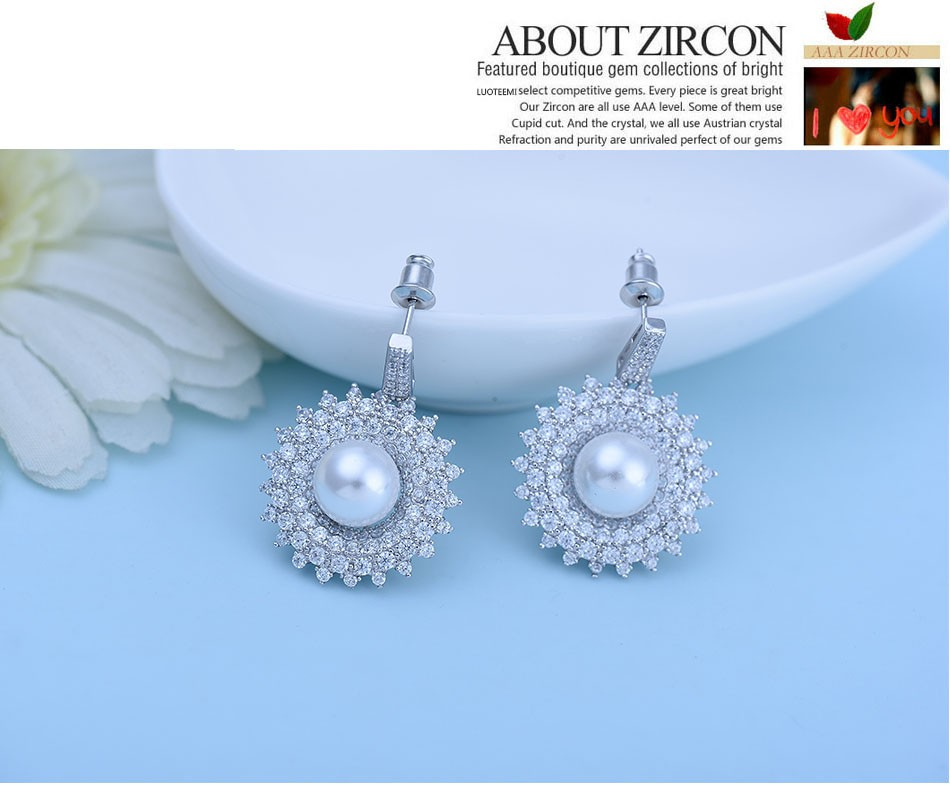LUOTEEMI 2016 Fashion Imitation Pearl Jewelry White Gold Plated Elegant Bridal Earrings Wholesale