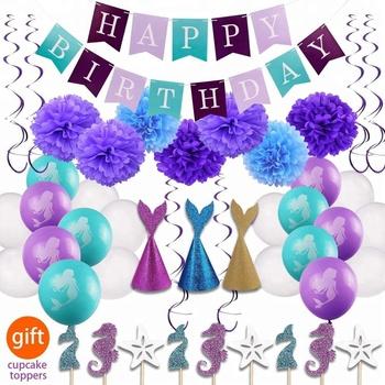 Sirena Fiesta Bebé Ducha Nupcial Suministros Decoraciones Para Banner De Cumpleaños Feliz Sombreros Globos Papel Poms Set Buy Sirena Suministros De