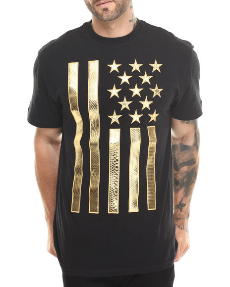 Mens Designer Tshirts With Vertical Metallic Gold Flag On Front ...