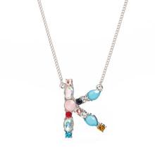 Уникальный дизайн цветными камнями ожерелье с буквенными подвесками для Для женщин Девушка цепи персонализированные Джокер Цепочки и ожер...(Китай)