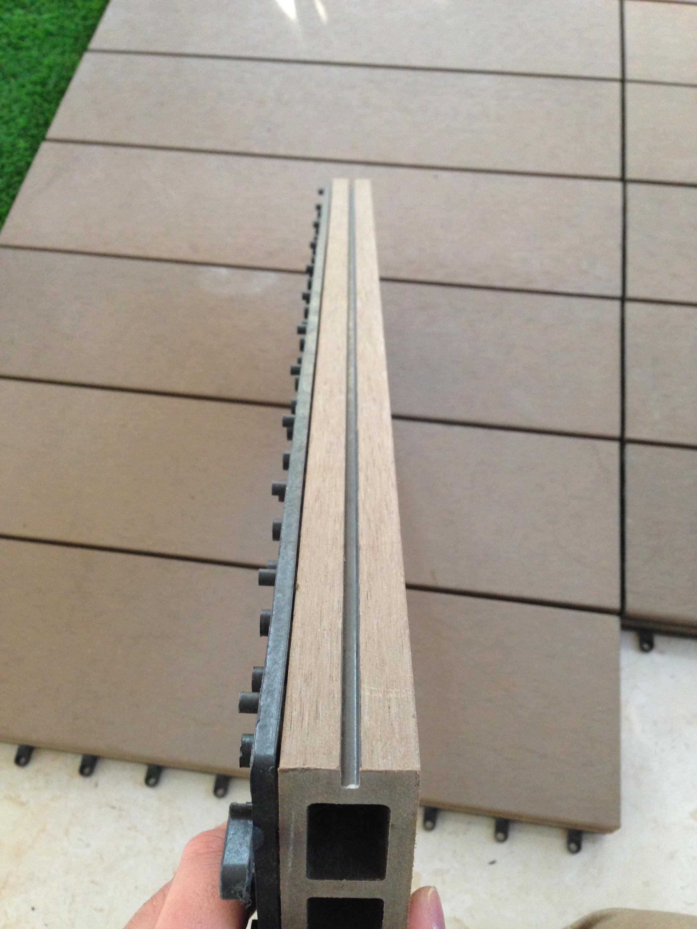 Garden Construction Terrace Cheap 15mm Wood Plastic Composite Decking Board Material DIY Deck Tile