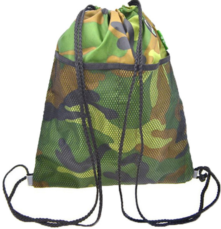 Custom newest camouflage promotional drawstring sport backpack 210D polyester drawstring back pack with mesh pocket