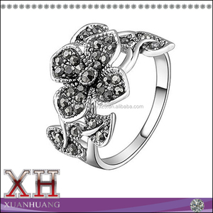 Hotsale Thai Silver Jewelry Leaf Flower Marcasite Rings 925