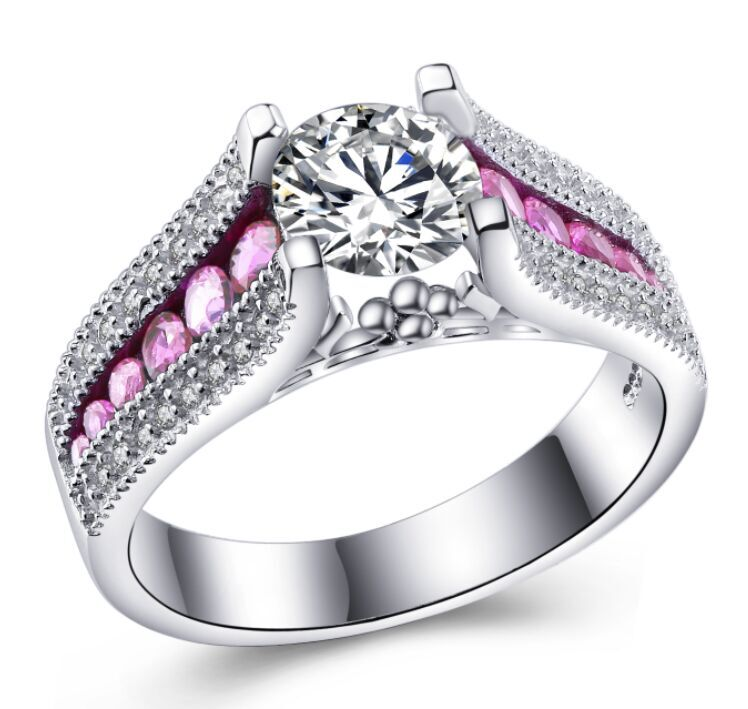 MDEAN Purple&Pink Stone White Gold Plated Wedding Rings For Women Engagement Rings Jewelry Accessories MSR349