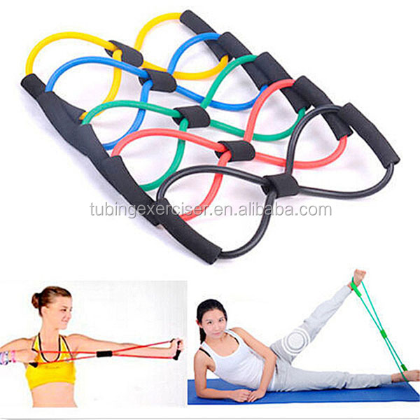 Fashion Body Building Fitness Workout Exercise for Yoga 8 Type Resistance Training Bands Tube