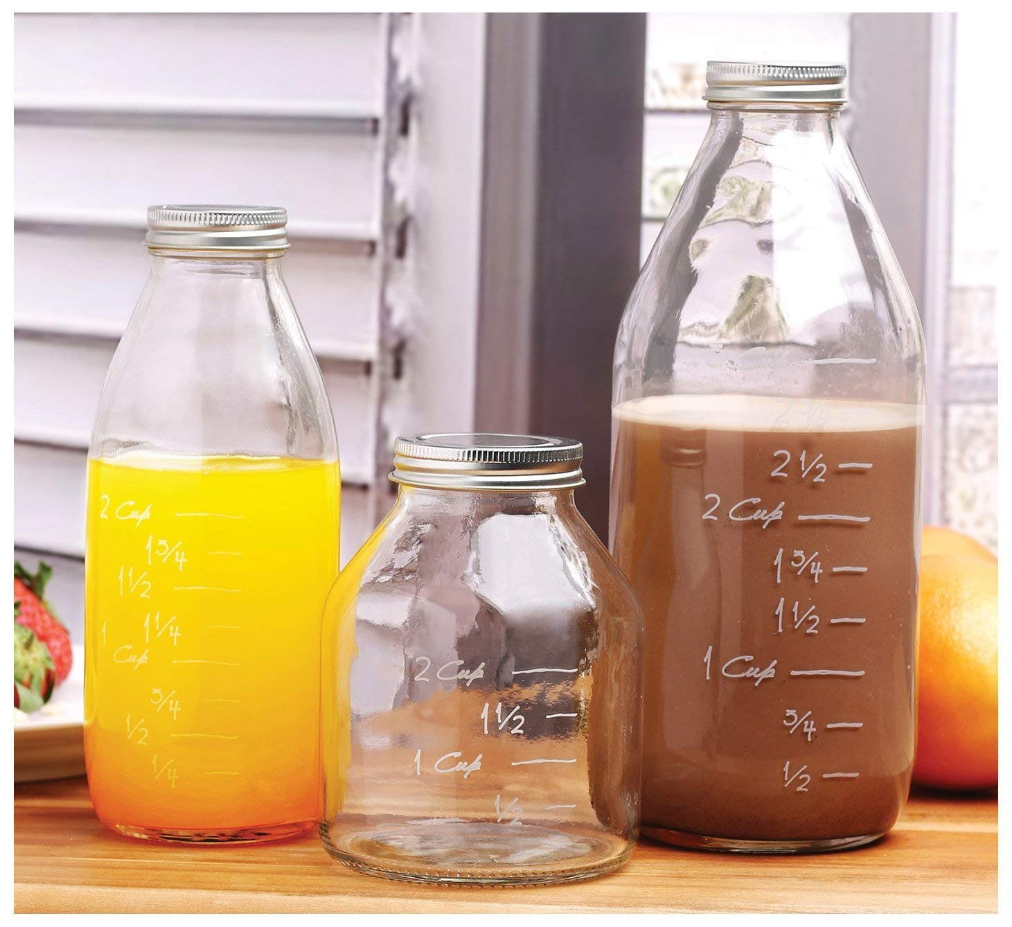 Durable Glass Milk Bottles with Embossed Capacity Measuring Marks, With Metal Twist Lids, Clear Vintage Style Dairy Bottle, Beverage Glassware and Drinkware for Parties, BBQ, Picnics. 33/17/17 oz