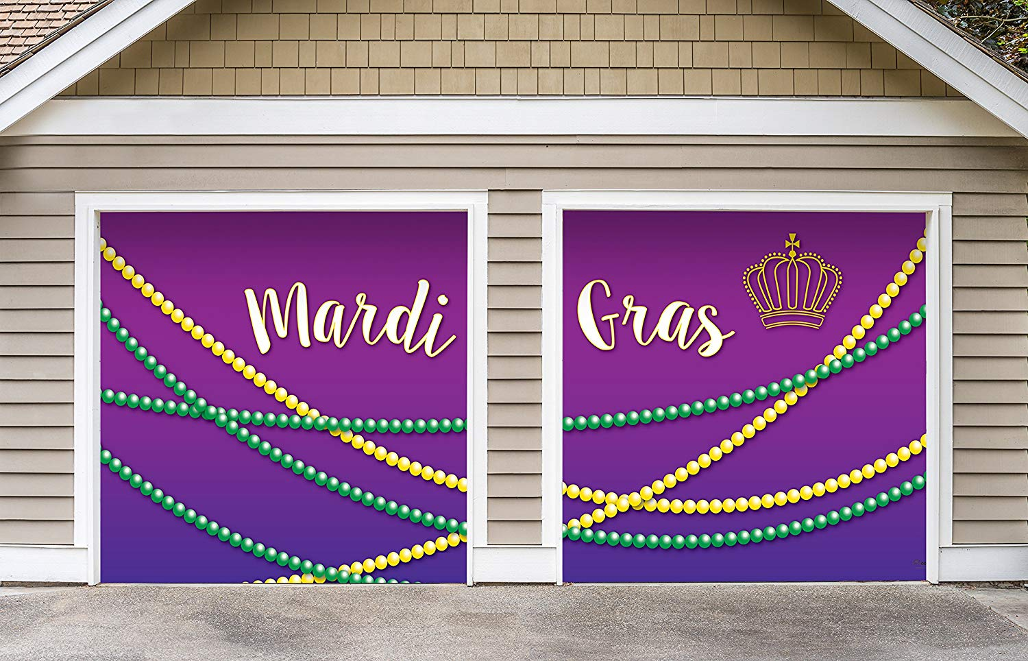 Victory Corps Outdoor Mardi Gras Decorations 2 Car Split Garage Door Banner Cover Mural - Mardi Gras Beads, Two 7'x 8' Graphic Kits - The Original Mardi Gras Supplies Garage Door Banner Decor