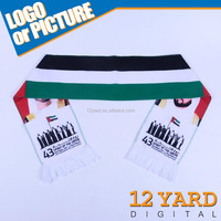 New trend custom printed UAE flag scarf DUBAI Government national day celebration stain scarf