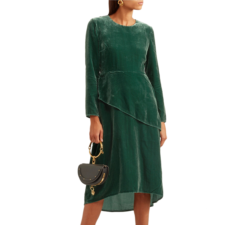 Nice Design Ladies Long Sleeve Bodycon Velvet Casual Soft Midi Autumn Dress Women