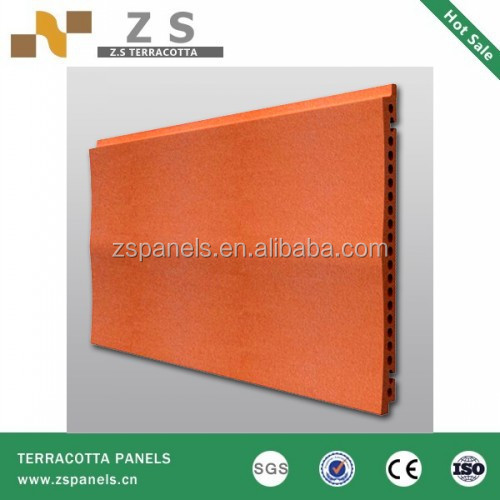 Rustic curtain wall terracotta facade tiles in beige , curtain terracotta wall clay tiles, terracotta fasade panel for exterior