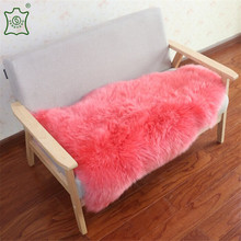 High quality bright pink yellow white brown Real animal fur skin fabric Long Hair Genuine Sheepskin Rugs for home decoration