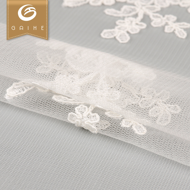 Factory price custom logo soft handfeel modern design 3d flower lace tulle fabric