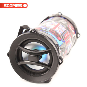 SOOMES Multimedia powered bass 4inch cylinder subwoofer speaker Handle or Belt, two types for option