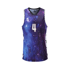 New Design Polyester Starry Sky Image Sublimated Printing Cheap Men Basketball Jerseys