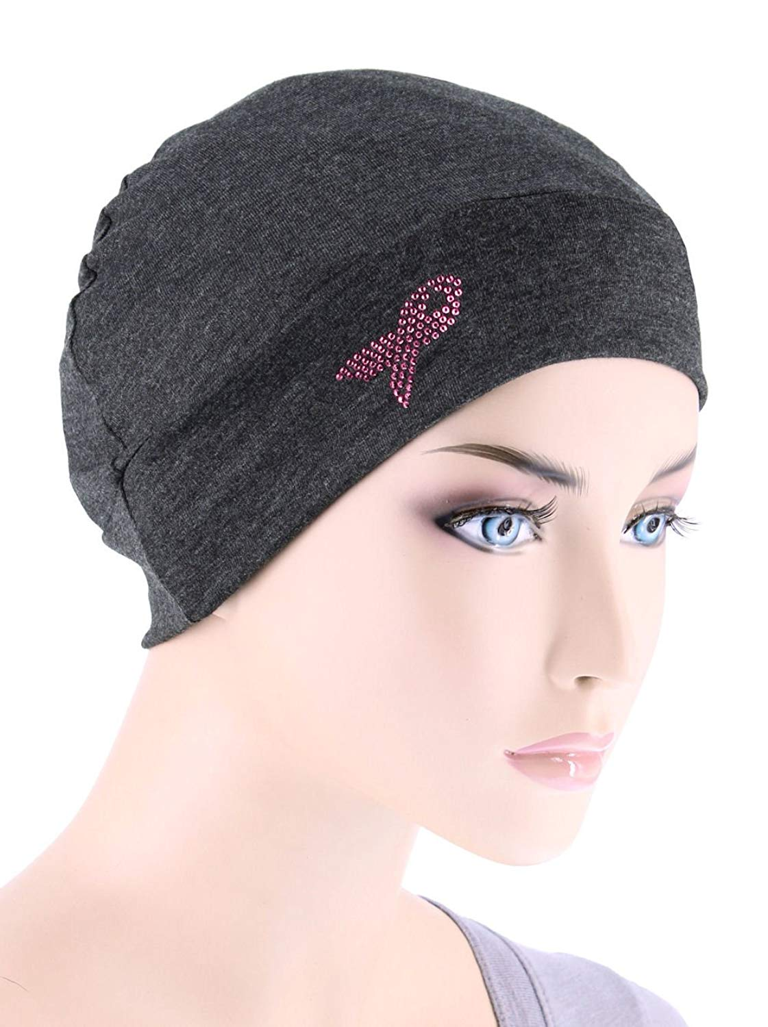 Breast Cancer Awareness Soft Comfy Chemo Cap Hat with Pink Ribbon Metallic Rhinestud