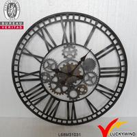 antique round recycle metal large digital wall clock