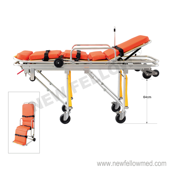 NF-A3-1 Aluminum Alloy Collapsible Stretcher For Ambulance(diameter 150mm wheel)
