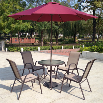 6 piece outdoor garden patio furniture glass aluminum dining table sling chair umbrella set - Garden Furniture 6
