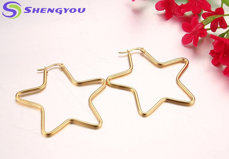 Exquisite Stainless Steel Jewelry Gold Beautiful Design Star Shape Big Hoop Stud Earrings