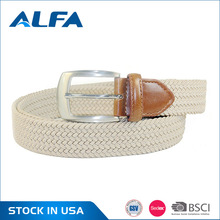 Alfa Wholesale Customized Durable Polyester Knitted Elastic Braided Mens Rope Belts