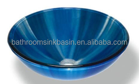 counter top glass basin /vessel sink /double-layer glass basin