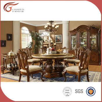 Classic Hand Carved Oak Wooden Round Dining Table Set Sale A14