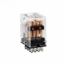 <span class=keywords><strong>HH54P</strong></span> MY4NJ plug-in relè PYF14A 12 v 24 v 110 v 220 v DC/AC 5A argento contattare 14 pins 4PDT <span class=keywords><strong>relay</strong></span> socket HH52P HH53P