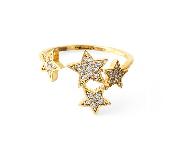 Wholesale Price 18K Gold Plated Micro Pave Setting Stars Open Ring Jewelry