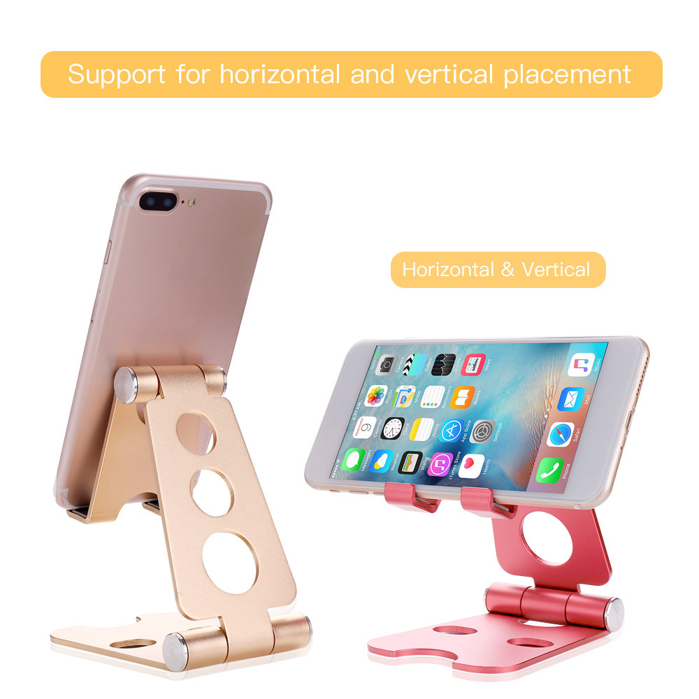 Adjustable Cell Phone Stand with Anti-Slip Base and Convenient Charging Port