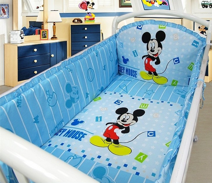 Promotion 6pcs Mickey Mouse Crib Baby bedding set jogo de cama infantil bed berco de bebe