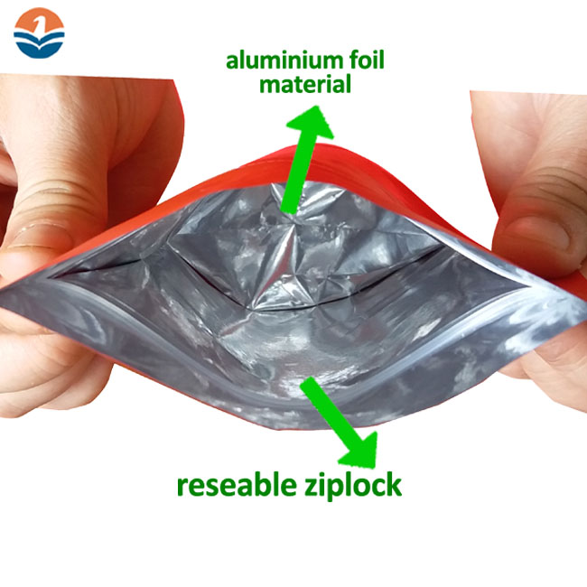 Custom Size Food Packaging Aluminium Foil Stand Up Pouch Plastic Bag with Zip lock