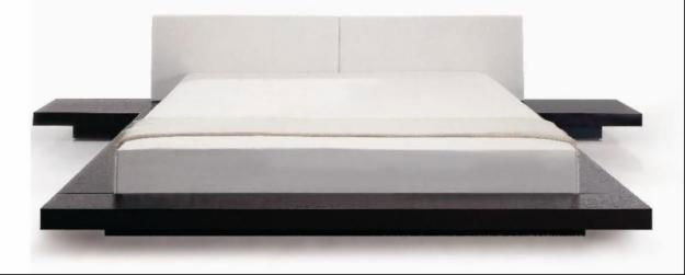 Patform bed with headboard cushion and Side table